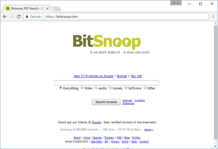 BitSnoop torrent tracker