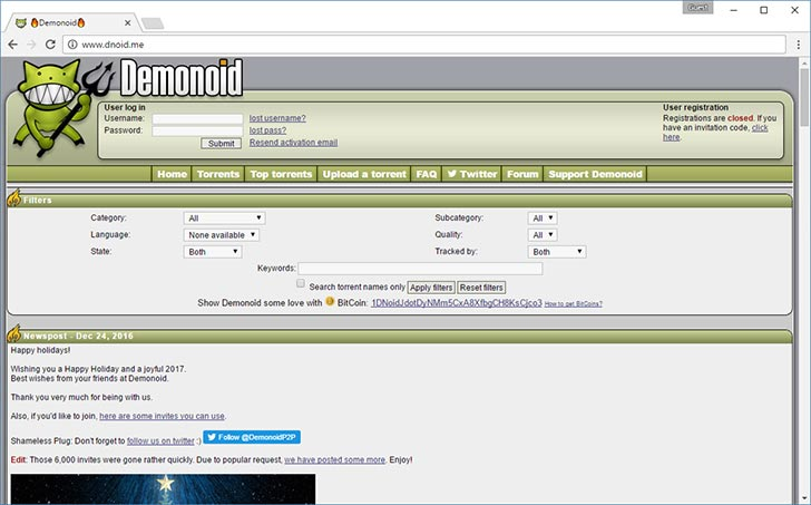 DemonoID torrent tracker