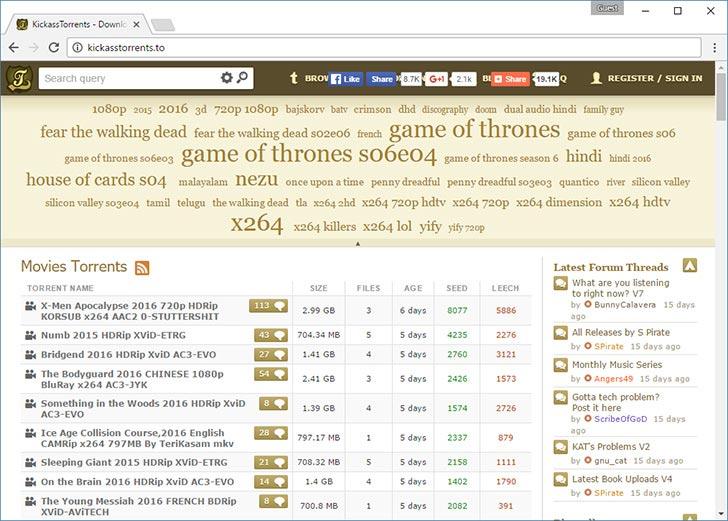 KickassTorrents torrent tracker