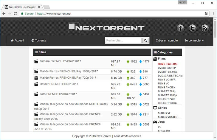 NexTorrent torrent tracker