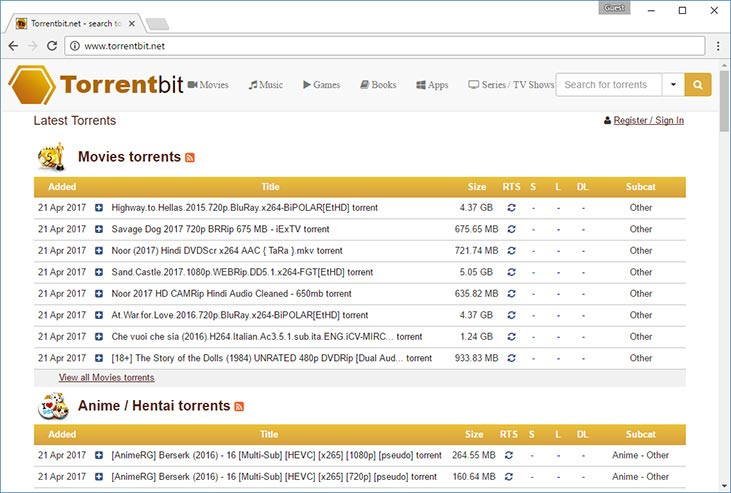 TorrentBit torrent search site