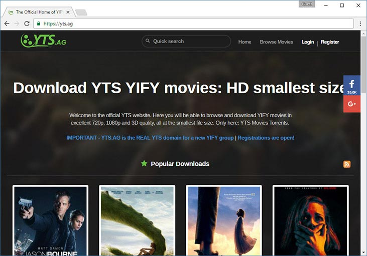 YTS torrent tracker